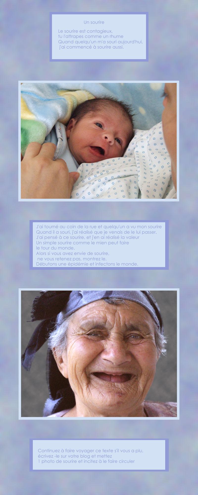 sourires édentés d' un nouveau-né et d' une vieille paysanne