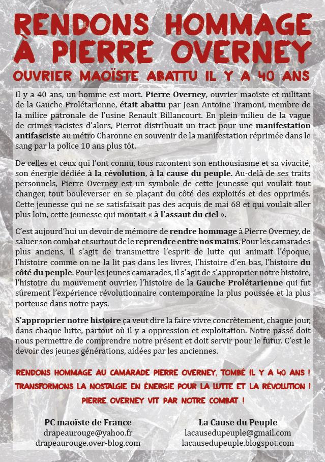 Tract pour les 40 ans de la mort de Pierre Overney