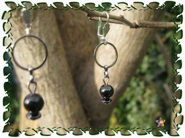 Boucles d'Oreilles avec pendants d'anneaux et perles en hématite