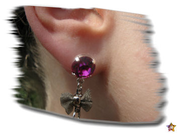 Boucles d'Oreilles Strass Rose Noeud et Peace and love Violet