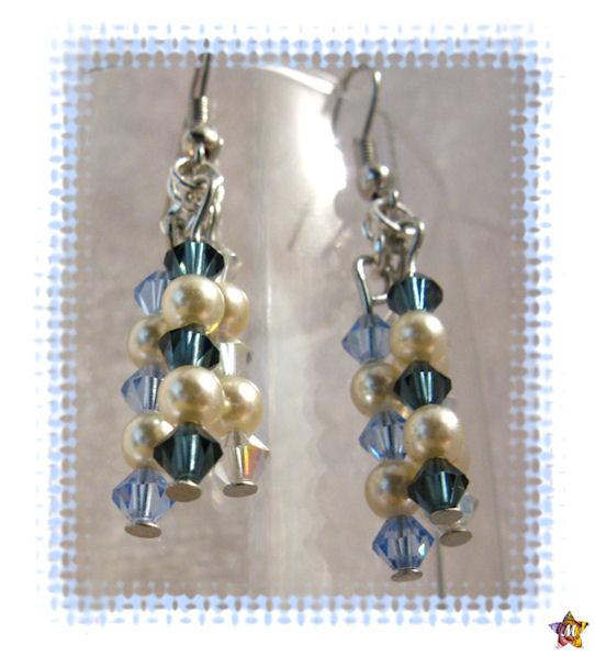 Boucles d'oreilles perles et cristal bleu