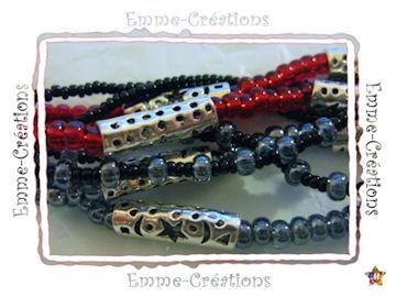 Bracelet en perles grises et rouges