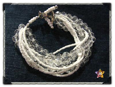 Bracelet perles facettes et blanches