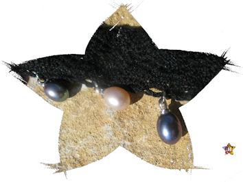 Collier dentelle noire perles rosées et grises