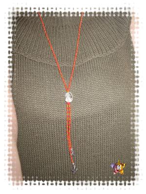 Collier long en perles Rouges et orange