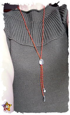 Collier long en perles Rouges et orange