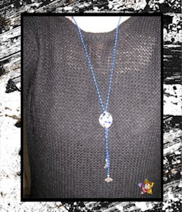 collier long en perles bleues