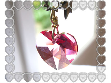 Collier coeur cristal rose