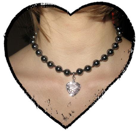 Collier mon coeur et mes perles grises
