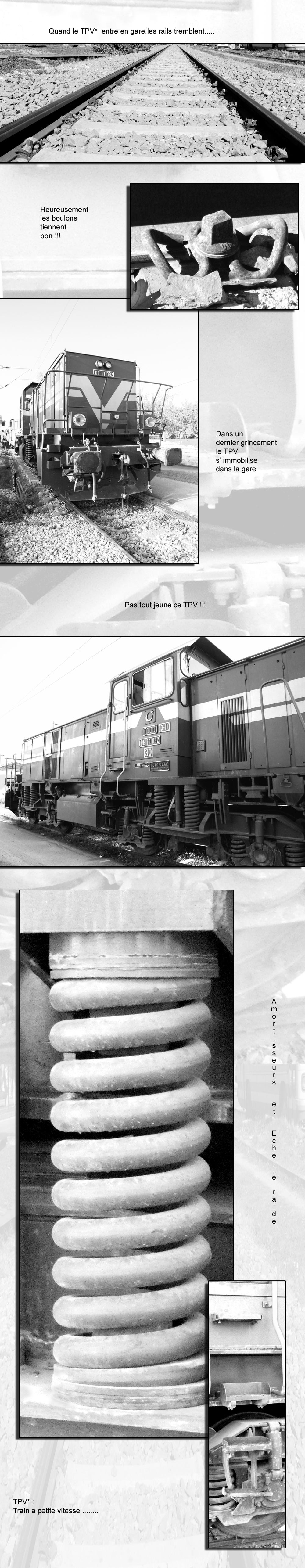 Train à petite vitesse en gare