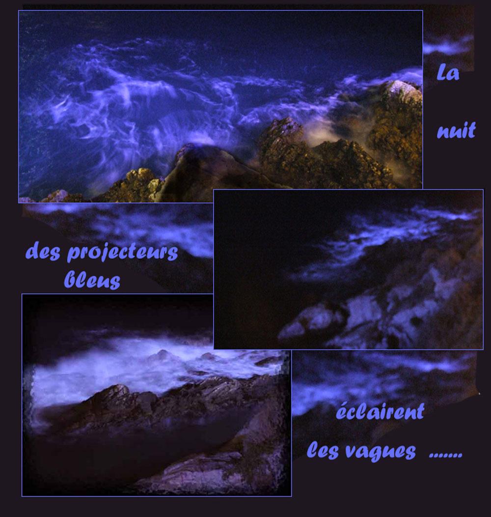 la nuit, des projecteurs bleus éclairent les vagues