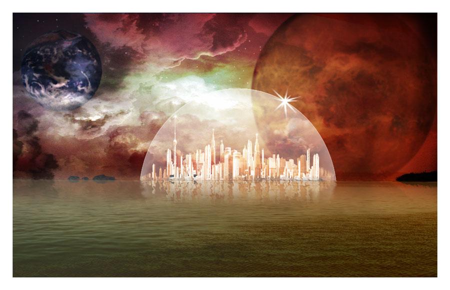 Ville sous globe de verre